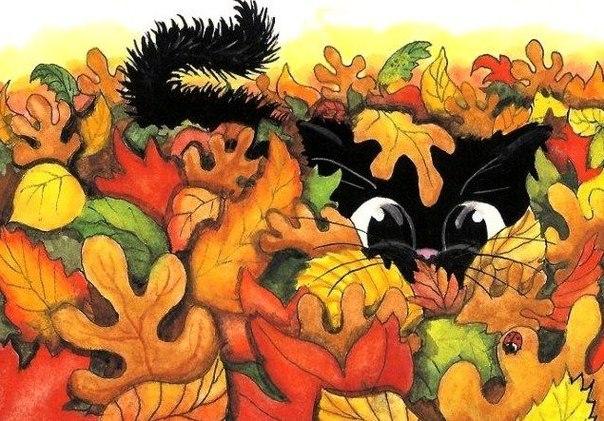 рисунок кота в осенних листьях