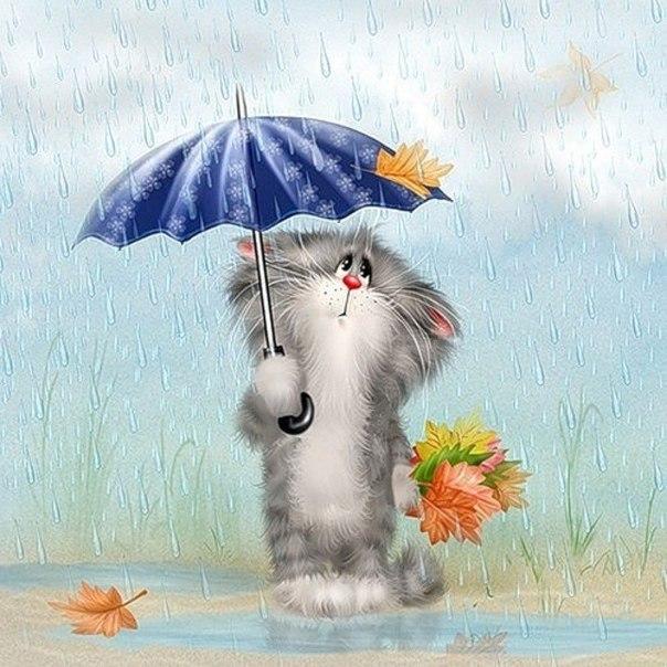 рисунок кота под зонтом