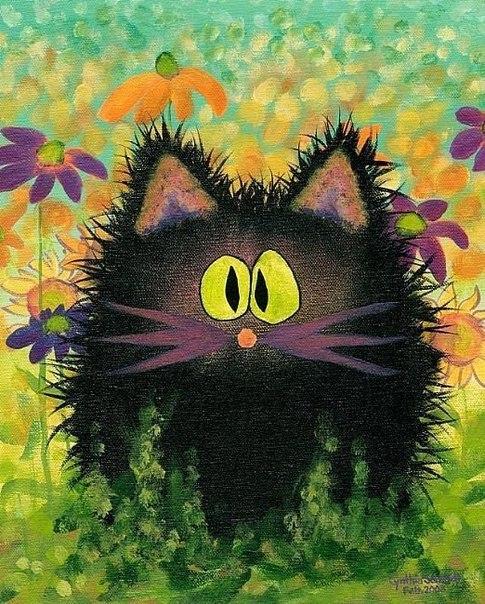 рисунок черного кота