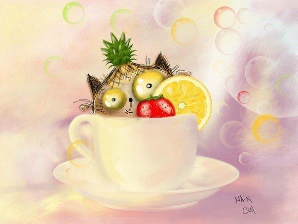 рисунок кота в чашке