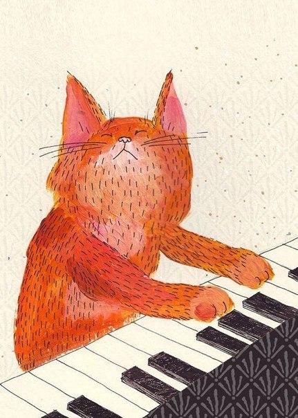 рисунок кота. играет на пианино