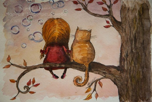 рисунок кота и девочки, сидят на дереве