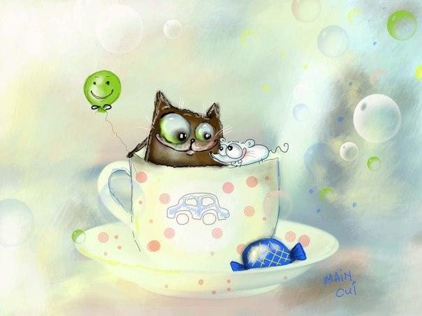 рисунок кота и мышки в чашке с блюдцем